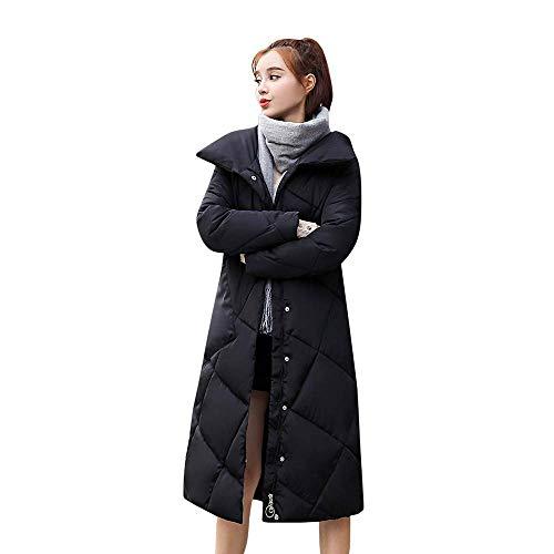 A Lunghi Donna Capispalla Lunga Bottoni Leisure In Fuweiencore Imbottiti Jacket Cappotto Nero Da Outdoor Manica Tasche Cotone Moda Invernale Parka q0xA7p