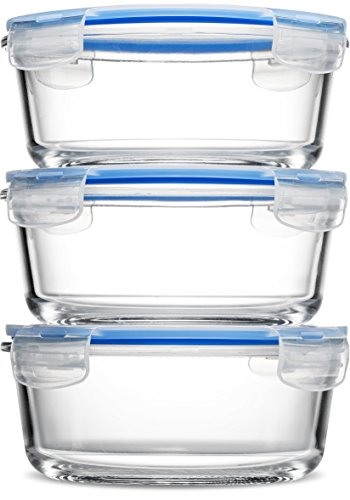 FineDine Superior Round Glass Meal Prep Food Storage Containers (3 Pack, 30 ounce) BPA Free Airtight Snap Locking Lid - Freezer, Microwave, Oven Safe, Portion Control Containers for Home and Work