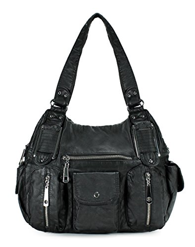 Scarleton Double Zipper Washed Shoulder Bag H133601 - Black