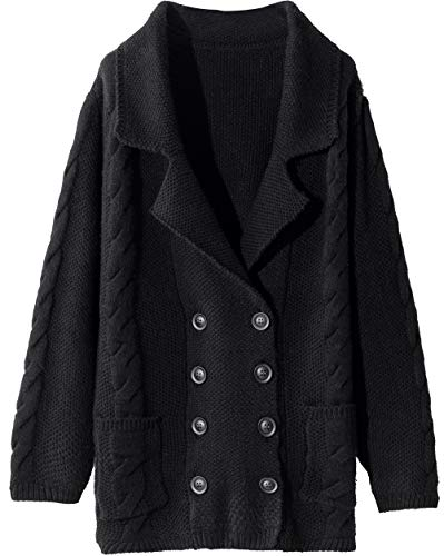 Liny Xin Women's Cashmere Winter Warm Long Sleeve Button Down Cardigan Sweater with Pockets (XL, Black)
