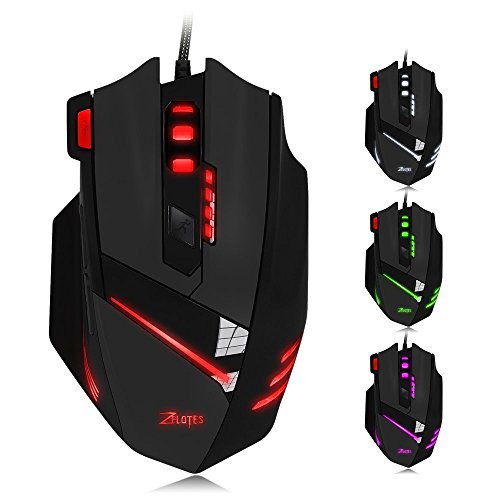 Zelotes T60 Professional Gaming Mouse,7200DPI High Precision wired mouse mice for PC Mac Computer Laptop,7 Buttons Design,6 LED Colors Changing (Black)