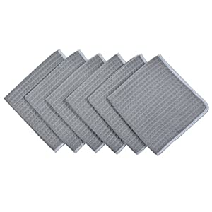 Sinland Microfiber Waffle Weave Dishcloths Cleaning Cloths 6 Pack 13inch X 13inch Grey