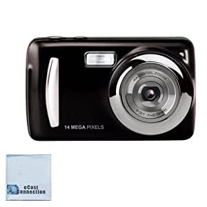 "14MP Megapixel Compact Digital Camera and Video with 2.4"" Screen with Easy Editing Software CD & eCostConnection Microfiber Cloth"