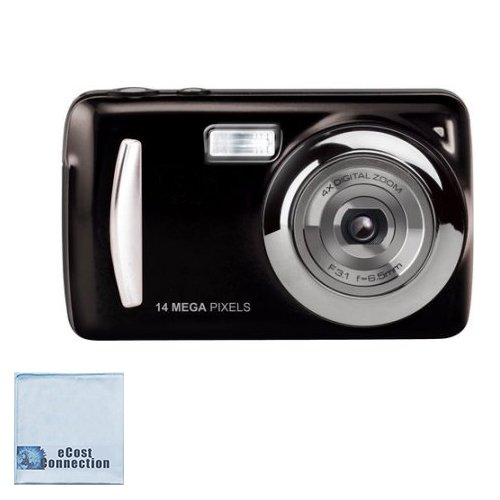 14MP Megapixel Compact Digital Camera and Video with 2.4″ Screen with Easy Editing Software CD&eCostConnection Microfiber Cloth
