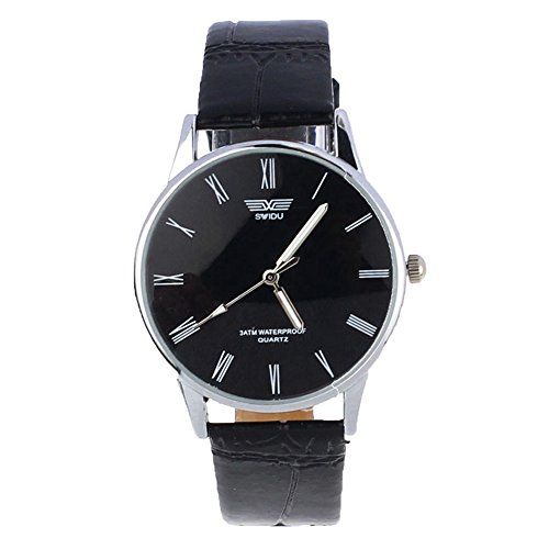 Mens Quartz Watch,Ulanda-EU Classic Analog Business Casual Roman Number Wristwatch,Clearance Cheap Watches with Round Dial Stainless Steel Case,Comfortable Leather Band la8 (Black)