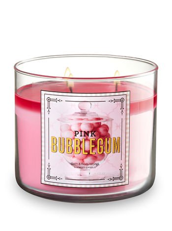 Bubble Gum Canes (Bath and Body Works Pink BubbleGum 3 Wick 14.5 oz Candle)