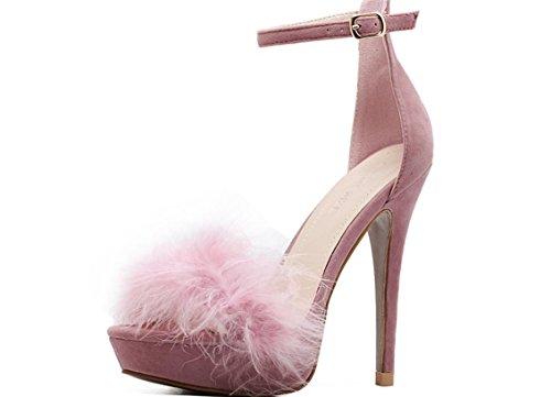 YCMDM DONNE tacco alto Shoe2017 nuovi tacchi alti ultra sottili scarpe di piume impermeabili sandali sexy scarpe singolo , pink (usa) , 6