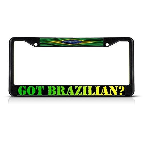 - License Plate Frame Got Brazilain? Brazil Wavy Flag METAL Black License Plate Frame Tag Holder