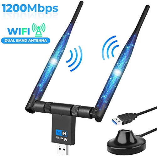 Wireless WiFi Adapter 1200Mbps USB3.0 WiFi Dongle 2.4G/5G 802.11ac Long Range Stable Signal Network Adapter with High Gain Dual 5dBi Antenna Support Windows XP/10/8/8.1/7/Vista,Mac 10.6-10.15