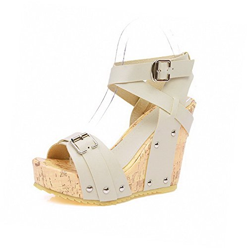 AmoonyFashion Womens Solid Soft Leather High-Heels Buckle Open-Toe Sandals Beige AuPyb