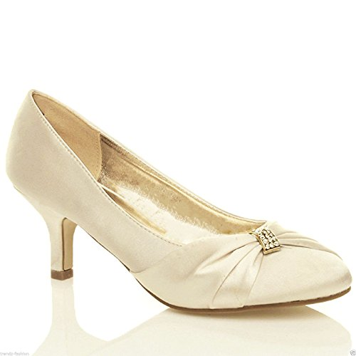Chic Feet Ladies Womens Ivory Satin Wedding Bridal Evening Court Shoes