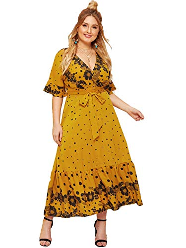 Milumia Women Plus Size Wrap V Neck Floral Bohemian Party Maxi Dress Yellow 3X