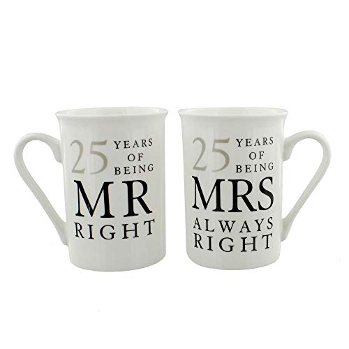 Happy Homewares Ivory 25th Anniversary Mr Right & Mrs Always Right Mug Gift Set