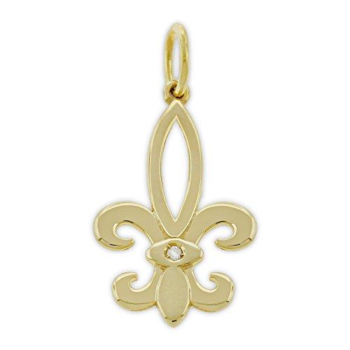 Charm America Gold Fleur De Lis Charm - 14 Karat Solid Gold with 1 pt ()