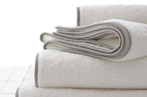 Bathroom Towel Set by Macouba: Superior Quality 600 GSM White Cotton Bath Towel Set with Grey Border/Trim| Soft, Ultra Absorbent Luxury Spa/Hotel Towel Pack of 2 Bath Towels, 2 Hand, 2 Face Washcloths