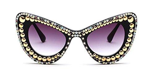 (WIIPU Women's Luxury Rhinestone Bling Cat Eye Sunglasses(S279) (C4 rhinestone spike, grey))