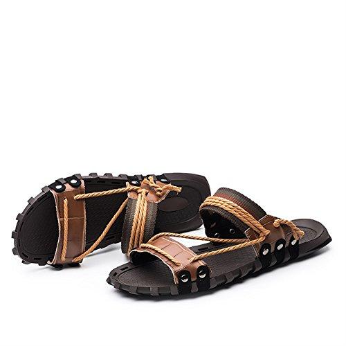Zapatilla de Para Cuero Insun 1 Marrón Playa Hombre Sandalias de BRq44xT