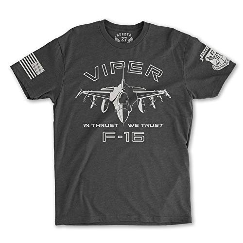 F-16 Viper (Fighting Falcon) T-Shirt, Air Force (X-Large, Charcoal) (Charcoal Air Falcons Force)