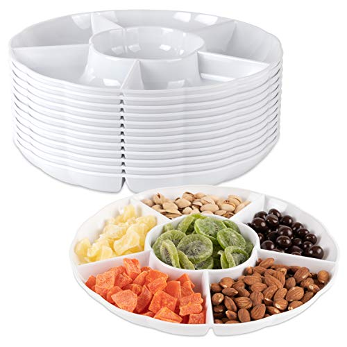 Impressive Creations White Round Plastic Serving Tray - (Pack of 12) - Heavyweight Disposable 6 Compartment Reusable Party Supply Tray- Durable and Reusable Party Supply Tray - Perfect Dinnerware 6 Compartment Cafeteria Tray