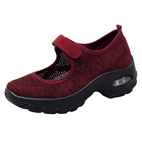 2019 New Women's Casual Breathable Lightweight Sports Shoes Summer Outdoor Soft Thick Bottom Running Sneakers Shoes (Wine, US:6)