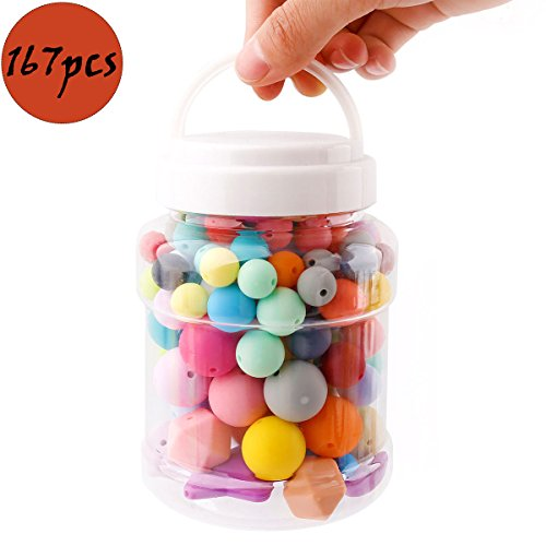 Baby Teether DIY Beads Set Handmade Crafts Necklace Bracelet Mix Color 167pcs Infant Nursing Accessories BPA Free Eco-Friendly 3 Size of (12mm 15mm 20mm)