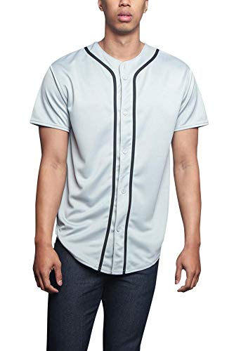 Men's Premium Baseball Button-up Athletic Contrast Trim Short Sleeve Jersey STS0171 - Grey - Large - A8I