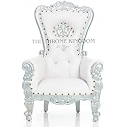 """Mini Tiffany Kids Birthday Throne Chair for Children - Prince/Princess Throne Chair for Kids - Party Chair Rentals, Children Photo Shoots, Home Furniture - Gold Finish - 37"""" H (White/Silver)"""