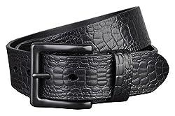 Galsang Vintage Leather Corcdile Pattern Men's 38mm Square Hale Belts#lp2013027 (41 in, Black)