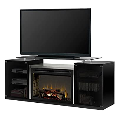 Dimplex Electric Fireplace, TV Stand, Media Console and Entertainment Center with Multiple Storage Cabinets, Stainless Steel Firebox Enclosure, Realistic Logs in Black Finish - Marana #SAPHL-500-B