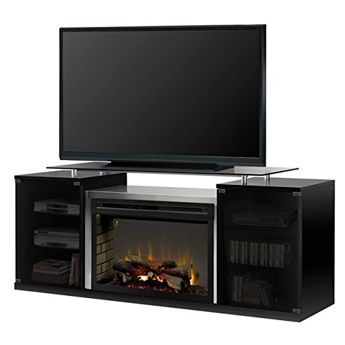 Dimplex Electric Fireplace, TV Stand, Media Console and Entertainment Center with Multiple Storage Cabinets, Stainless Steel Firebox Enclosure, Realistic Logs in Black Finish - Marana #SAPHL-500-B (Glass Fireplace Door Enclosure)