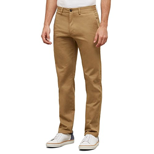 Kenneth Cole REACTION Men's Solid Stretch Eco Chino Flat Front Slim Fit Casual Pant, Camel, 38x32 -