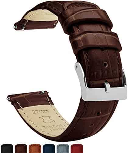 22mm Coffee Brown - Barton Alligator Grain - Quick Release Leather Watch Bands