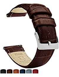 Barton Alligator Grain - Quick Release Leather Watch Bands - Choose Color - 18mm, 20mm & 22mm - Coffee 22mm Strap