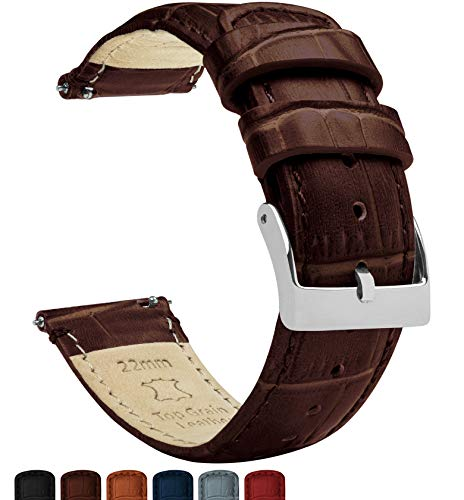 Barton Alligator Grain - Quick Release Leather Watch Bands - Choose Color - 16 mm, 18mm, 19mm, 20mm, 21mm, 22mm, 23mm, or 24mm - Coffee 20mm Strap