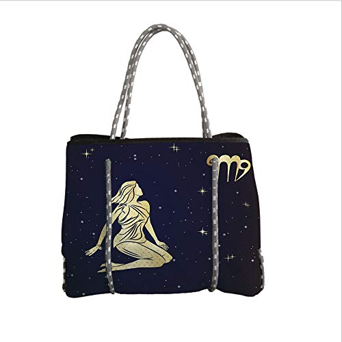 Neoprene Multipurpose Beach Bag Tote Bags,Virgo,Woman in Short Dress Sitting in Space Looking at Stars Horoscope Themed Image Decorative,Indigo Yellow,Women Casual Handbag Tote Bags
