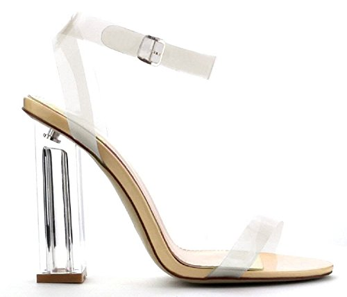 Lucite Heel Shoes (Cape Robbin Maria-2 Women's Lucite Clear Strappy Block Chunky High Heel Open Peep Toe)