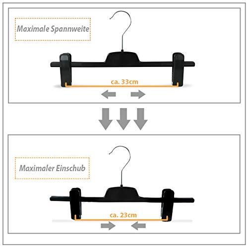 lunghezza Set di appendini in plastica con clip,grucce per pantaloni con pinze circa 36/cm confezione da 10/pezzi