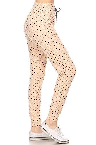 (Leggings Depot JGA-R986-M Polka Dot Sugar Print Jogger Track Pants w/Pockets, Medium )