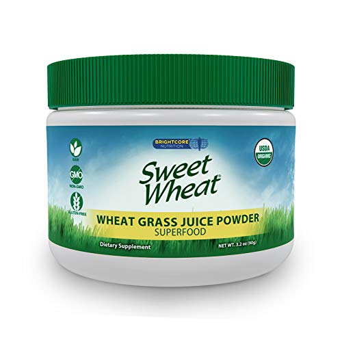 Sweet Wheat Organic Wheat Grass Juice Powder - Raw, Nutritionally Dense Superfood Health Supplement - Rich in Vitamins, Minerals, Amino Acids, and Antioxidants, 90 Grams