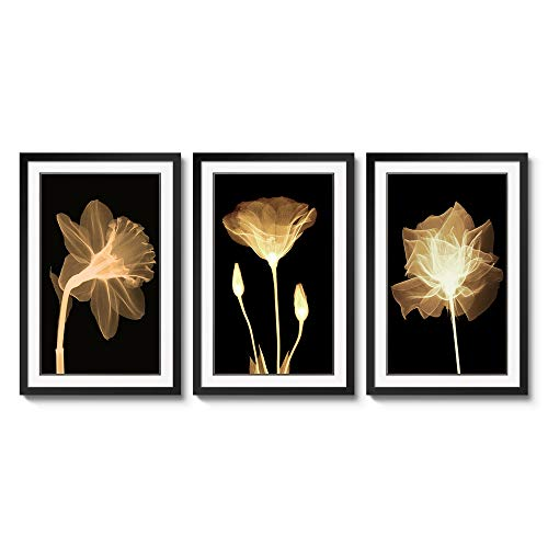3 Panels Black Frames Giclee White Mat Artworks Black White and Gold Wall Art Canvas Prints Decor Framed Flowers Painting Poster Printed On Canvas Poppy Pictures for Home Decorations (A, L)