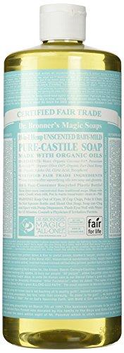 Magic savons Castille pur savon du Dr. Bronner's, chanvre 18-en-1 sans parfum doux, 32 onces les biberons (Pack de 2)