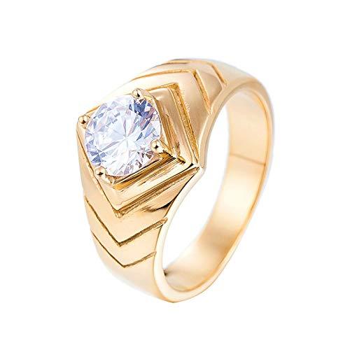 - Aokarry Men Ring, Stainless Steel Rhombus Ring for Men Gold Size 9