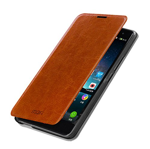 DAYJOY Elegant Side Slim Flip Flio Leather Protective Bumper Case Cover Shell Shield with stand function + 1PC 9H hardness tempered glass for ZTE NUBIA Z7 MAX(BROWN)