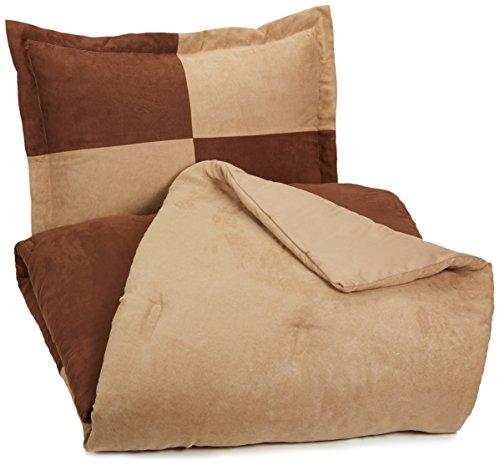 AmazonBasics 2-Piece Two-Tone Microsuede Comforter Set - Twin, Chocolate - Microsuede Comforter