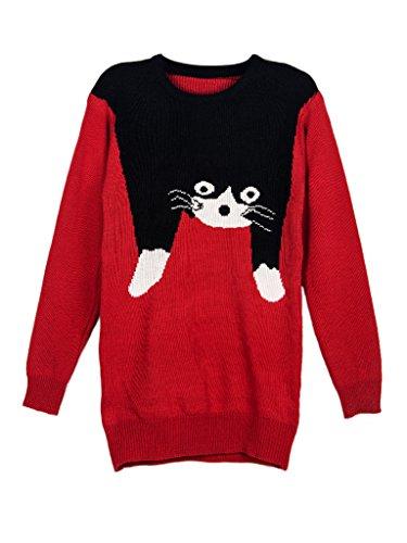 Persun Womens Sleeve Intarsia Sweater