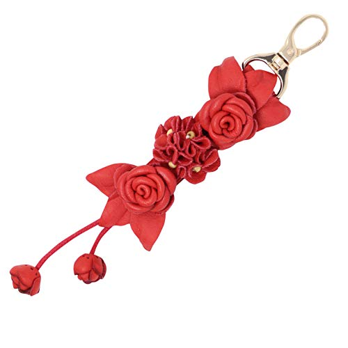 Leather Bag Handmade Shoe - Genuine Leather Handmade Twin Rose Charms | Tassel for Bags Purse Backpack | Stainless Steel Keyring | Unique Gift Idea (Red)