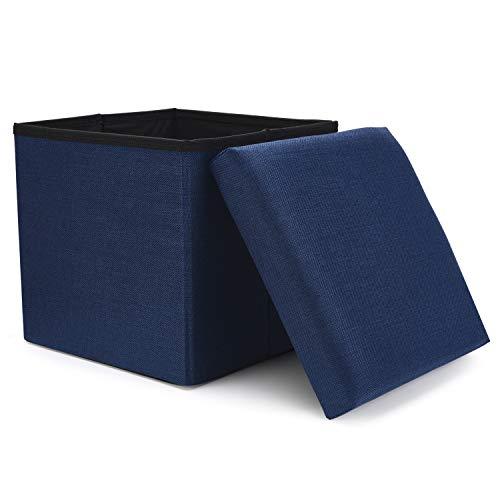 WoneNice Folding Storage Ottoman, Versatile Space-Saving Storage Toy Box with Memory Foam Seat, Max Load 100 kg Linen Navy 12 x 12 x 12 Inch (Cube Footstool Storage)