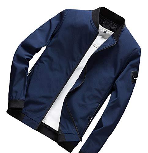 Splice Size Coat Collar Outwear Dark Blue Casual EnergyMen Zips Plus Pocket Stand ZqdC7dw