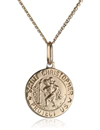 14k Yellow Gold Men's Saint Christopher Medal, 18""
