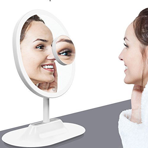 LivingPro Vanity Makeup Mirror with Upgraded Anti-Glare LED Lighting Controlled by Dimmable Touch Screen Sensor with 10X Spot Mirror for Details by LP LivingPro